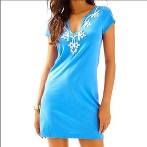LILY PULITZER BREWSTER BAY BLUE TSHIRT DRESS L